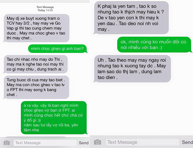 phải làm gì khi có người đe dọa bằng tin nhắn